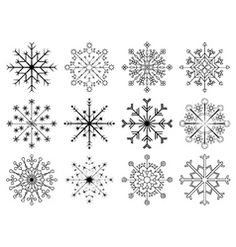 Snowflakes set vector image on VectorStock Christmas Stencils, Christmas Crafts, Cross Stitch Embroidery, Embroidery Patterns, Snowflake Photography, Snow Flake Tattoo, Snowflake Template, Quilling Paper Craft, Yarn Thread