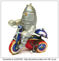 Spaceman on a Tricycle, FRANCONIA (Importer), Japan (Picture 2 of 2). Tin Litho Tin Plate Toy. Wind-Up / Clockwork Mechanism.