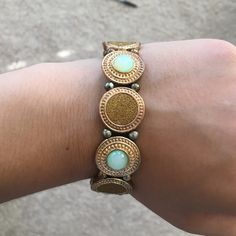 Charming Charlie: Teal and Gold Bracelet Teal and Gold bracelet from Charming Charlie. Barely used. Excellent condition Charming Charlie Jewelry Bracelets