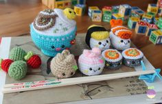 Amigurumi Food: New Crochet Pattern! Bento Family / Sushi set #crochetfood #amigurumifood