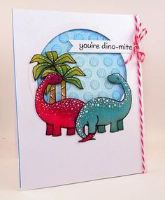 Lawn Fawn - Critters from the Past _ adorable dino card by Kelly via Flickr - Photo Sharing!