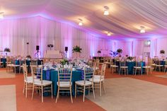 Teal and Purple Peacock Wedding Reception Centerpieces | St. Pete Beach Tradewinds Wedding