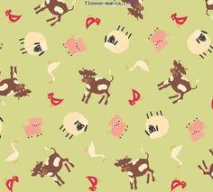 Tissu animaux de la ferme patchwork vert Riley Blake
