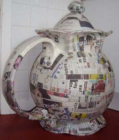 Mad Hatter, Alice in Wonder Land. DIY paper mache teapot!  for Dormouse/tea party