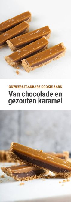 Chocolade en gezouten karamel cookie bars Recipe for no-bake cookie bars from chocolate fudge and a salted caramel layer. Cookie Desserts, Cookie Bars, No Bake Desserts, Easy Desserts, Cookie Recipes, Baking Desserts, Baking Chocolate Chip Cookies, Chocolate Fudge Pie, Chocolate Recipes
