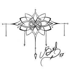 Tatuaje muñeca había inspirada en mehndi y lazos célticos flores de loto de estilo. El diseño está pensado para envolver completamente alrededor de la muñeca, ya sea con la flor en la parte superior de la muñeca y las flechas apuntando hacia la mano, o la flor en la parte inferior del