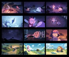 """loopy-lupe: """"Here's a project I've been working on for a bit! I wanted to do mock color keys, so I decided to take something pre-existing and make scene keys for it, which ended up being kirby Kirby Games, Kirby Character, Gamer Pics, Color Script, Super Smash Bros, Cupid, Storyboard, Concept Art, Kawaii"""