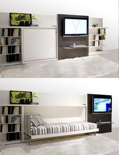 Multipurpose furniture for tiny houses - entertainment center that slides down to expose a hidden bed,  click thru for more