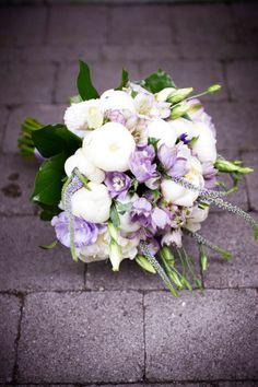 Purple Flower Bouquets | Purple Lisianthus and White Peonies Arranged in a Springtime Bridal ...