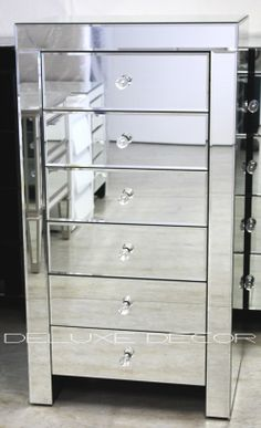Modern Silver Mirror 6 Drawer Narrow Slim Chest Tall Boy 2501S