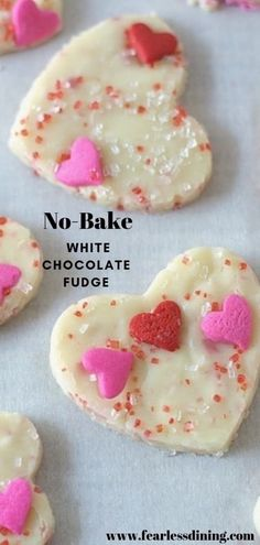 Easy 3 ingredient white chocolate fudge. Perfect for Valentine's Day, or for a fun party treat. Easy no-bake candy recipe. Recipe at www.fearlessdining.com #whitechocolate #whitefudge #valentinesday #easycandyrecipe #nobake #fudge