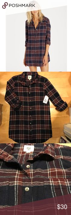 NWT Billabong flannel dress Super cute textured Flannel dress/tunic by Billabong! Can also be worn open with a shirt under :) new with tags! Color is navy and maroon Billabong Dresses