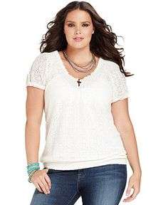 seven7 plus size top, short-sleeve cutout printed - plus size tops