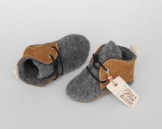 Leather and Wool Baby/Toddler Shoes Slippers First by OllieAndTate, $39.00