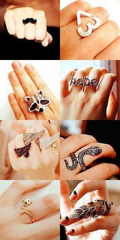I wouldn't wear ALL of the rings. My favorite is the kitten ring, it is so quirky and adorable. I thought about the leaf ring but I know it would annoy me.