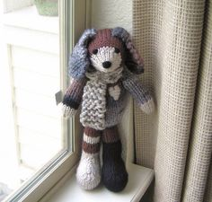 Hand-knitted stuffed dog from Very Carey