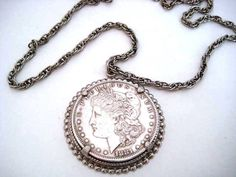 Vintage 1881 Morgan Silver Dollar Pendant Necklace  by TooTooKute, $45.00