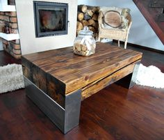 Handmade Reclaimed Wood & Steel Coffee Table Vintage Rustic Industrial  loft end table unique brown old wood old beams silver legs by MadeFromWoodDesigns on Etsy https://www.etsy.com/listing/502573473/handmade-reclaimed-wood-steel-coffee