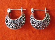Ravish Balinese Sterling Silver Hoop Earrings / silver door Telur, $27.99