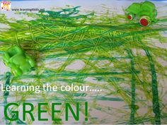 A list of GREEN colour activities: a green tea party in the bath, rolling green toy cars through green paint, green play dough, hide and seek green sheep and so much more!! {learning4kids}