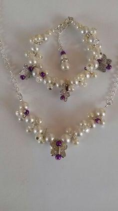 Bridal cluster bracelet and necklace
