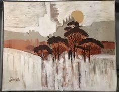 Extremely Large Framed Lee Reynolds Burr Oil Painting On Canvas c1970's #Abstract #leereynolds #leereynoldsburr #art #abstractart #forsale #selling #vintage #retro #oilpainting