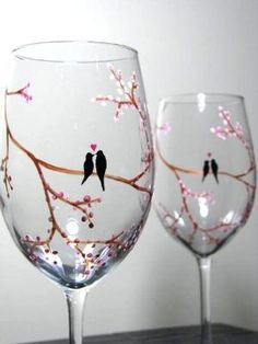 Hand Painted Wine Glasses by carlani