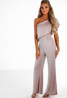 f97c96eb836 She s Amaze Nude Glitter Lurex One Shoulder Jumpsuit - 8. Pink Boutique UK