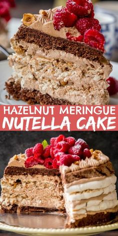Hazelnut Meringue Nutella Cake Recipe Hazelnut Meringue Nutella Cake – Layers Chocolate Poppyseed Cake, Hazelnut Meringue and Nutella Custard Buttercream will have your guests swoon from this deliciousness! Hazelnut Meringue, Meringue Desserts, Meringue Cake, Kid Desserts, Delicious Desserts, Vegan Meringue, Custard Desserts, Meringue Kisses, Swiss Meringue