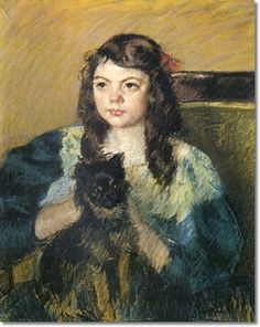 FRANCOISE HOLDING A LITTLE DOG BY MARY CASSATT C.1908  Mary Cassatt was very fond of little dogs, especially Brussels Griffons. It was throgh Dega's friend, a breeder of Brussels Griffons in Paris that she got her first Griff, she later bred them and had several at a time. Griffons were a common subject in her work, black and tan rough coats were here favorites.