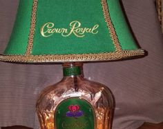 Upcycled Crown Royal Whisky Pendant Lamp CL by Gottles on Etsy Crown Royal Bottle, Crown Royal Bags, Diy Home Crafts, Holiday Crafts, Fun Crafts, Whiskey Bottle Crafts, Crown Royal Quilt, Vintage Light Bulbs, Diy Crown