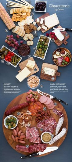 Create your own Charcuterie and Cheese Spread Plateau Charcuterie, Charcuterie And Cheese Board, Charcuterie Platter, Antipasto Platter, Cheese Boards, Charcuterie Ideas, Charcuterie Spread, Meat Platter, Party Platters