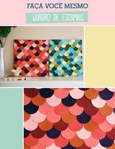 passo-a-passo-quadro-de-escamaS01 Diy Home Crafts, Diy Arts And Crafts, Hobbies And Crafts, Handmade Crafts, Diy Para A Casa, Diys, Ideias Diy, Dollar Store Crafts, Scrapbook Paper Crafts