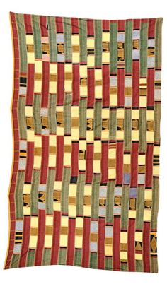 Africa | Wrapper from the Ewe people of Ghana | ca. 1940 | Cotton; woven in twenty strips, with boldly coloured animals in saffron on a black background, with rectangles of yellow, deep red, blue etc