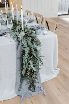 Eucalyptus Greenery Foliage Runner Table Tablescape Linen Garland Ribbons Candles Grey Violet Wedding Ideas Chloe Ely Photography #Eucalyptus #Greenery #Foliage #Runner #Table #Tablescape #Linen #Garland #Ribbons #Candles #Grey #Violet #Wedding