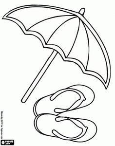 Beach parasol and flip-flop sandals to enjoy the summer coloring page - bjl