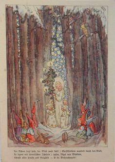 Ruthild BUSCH SCHUMANN - ENGEL mit Christbaum u. ZWERGE im Wald - c1940