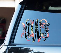 Classy Black Floral Monogram Car Decal Car Stickers Car Decor Cute Car Accessories Car Decals Monogrammed Vinyl Decal For Yeti Preppy Floral by ChicMonogram on Etsy
