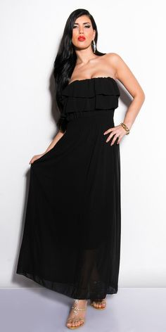 e6e6054ee8e Details about NEW WOMENS LADIES BLACK BANDEAU FRILL MAXI DRESS SIZE 8 10  12. Glamour ShopBlack BandeauBeach DressesDress ...