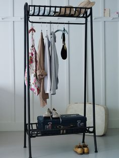 Strong and sturdy our weighty cold-rolled steel clothes rail looks just like wrought iron with a distressed finish. A great way to display your favourite clothes, each rail includes a handy shelf both above and below and can be used in place of a wardr Modern Vintage Bedrooms, Vintage Bedroom Furniture, Bedroom Vintage, Simple Bedrooms, Beautiful Bedrooms, Modern Furniture Online, Luxury Furniture, Clothes Rail, How To Iron Clothes