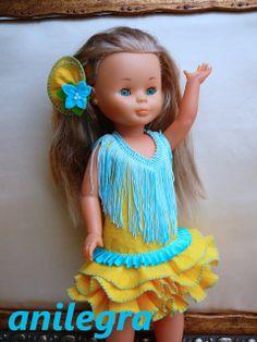 Como hacer un traje de flamenca para nancy , pepa , o cualquier otra muñeca , tutorial y patrones