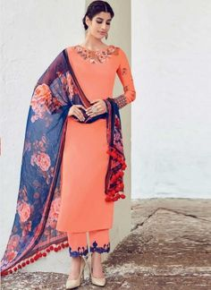 Light Orange Navy Blue Embroidery Work Cotton Satin Palazzo Salwar Suit…