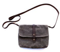 Small Waxed Canvas Purse with Cross Body Shoulder Strap by overlap