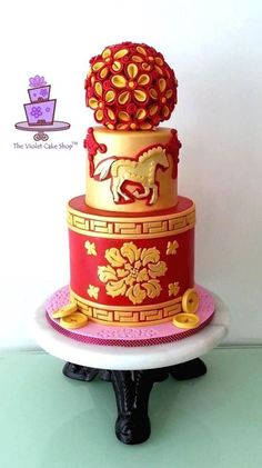 YEAR of the HORSE Celebration Cake for Chinese New Year by The Violet Cake Shop - https://www.facebook.com/pages/The-Violet-Cake-Shop/95259702360