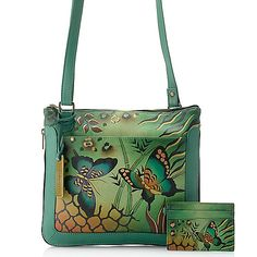Anuschka Hand-Painted Leather Zip Around Crossbody Bag w/ Card Holder