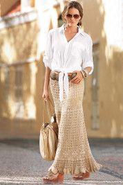 Boston ProperTie-front blouse and Hand-crocheted boho skirt