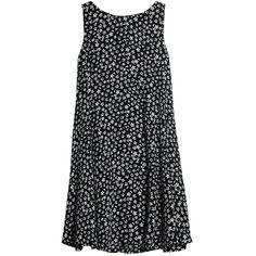 Mango Printed Flared Dress, Black/White ($33) ❤ liked on Polyvore featuring dresses, vestidos, tops, short dresses, long-sleeve midi dresses, floral print maxi dress, floral print dress, shift dress and sleeved maxi dress
