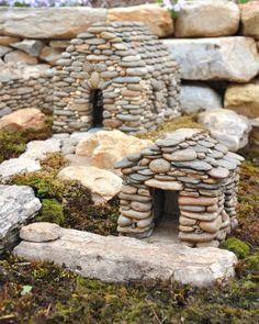 Mini stone houses, Made a Fairy House like this on an old moss covered slice of wood. Used big pieces of bark for the roof and hot glued tiny sticks to make a door. - DIY Fairy Gardens