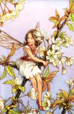 White Lilac Fairy Vintage Wall Art