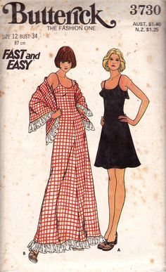Butterick 3730 Womens Vintage 70s Sundress & Maxi Dress Vintage Sewing Pattern Size 12 Bust 34 inches